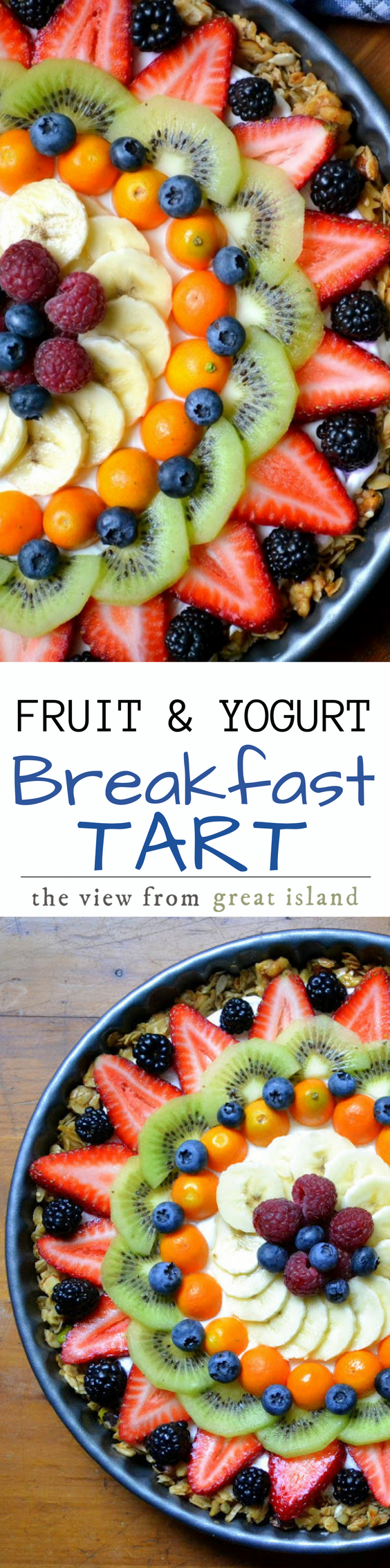 This Beautiful Breakfast Tart has a gluten granola crust filled with thick Greek yogurt, and topped with a colorful sunburst of fresh juicy fruit. Yes it looks too beautiful to eat, but dig in anyway ~ it may be beautiful, but it's still breakfast! #tart #fruittart #glutenfreetart #granola #yogurtparfait #breakfast #brunch #mother'sDay #Easter #glutenfree