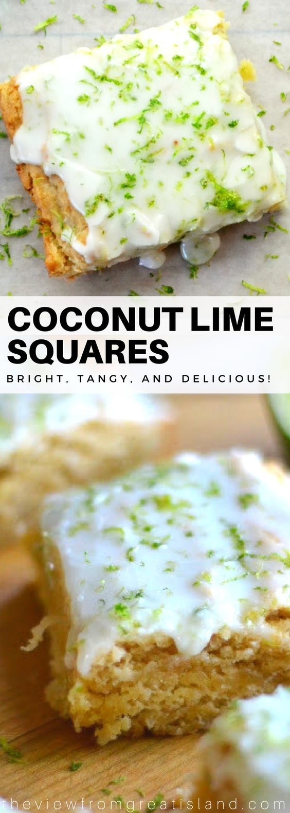 Coconut Lime Squares ~ When the craving for rum, fresh coconut, and lime hits, this is your go to dessert. Basically it's a coconut rum blondie with a lime glaze! #coconut #lime #tropicaldessert #dessert #summer #blondies #bars #coconutlime #dessertbars
