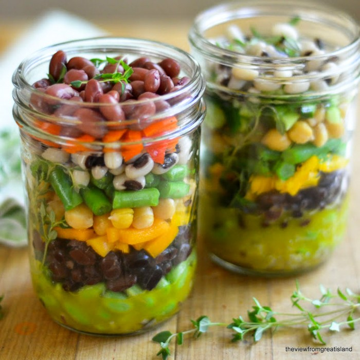 healthy layered 7-bean salad in jars is perfect for picnics!