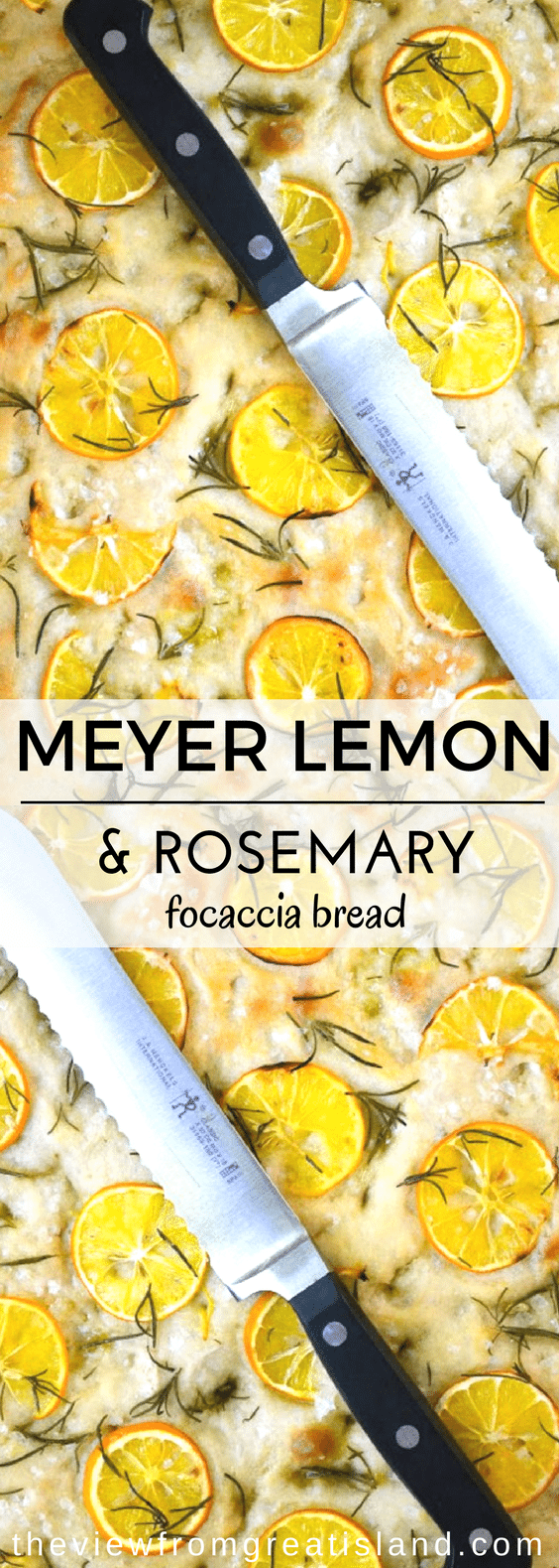 Meyer Lemon and Rosemary Focaccia Bread is a quick and easy no knead yeast bread that's ready in about an hour. This classic Italian crusty bread makes the most fabulous appetizer ever! #bread #focacciabread #Italianbread #appetizer #rosemarybread #lemonbread #yeastbread #noknead #quickbread #flatbread