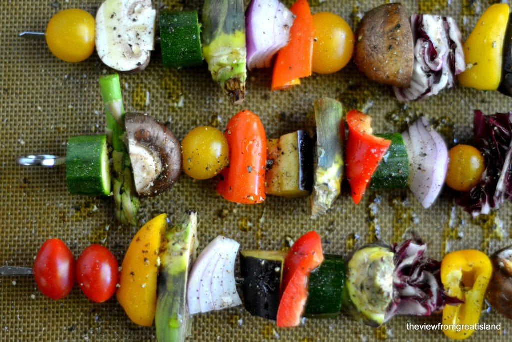 Spring Vegetable Skewers and Saffron Couscous