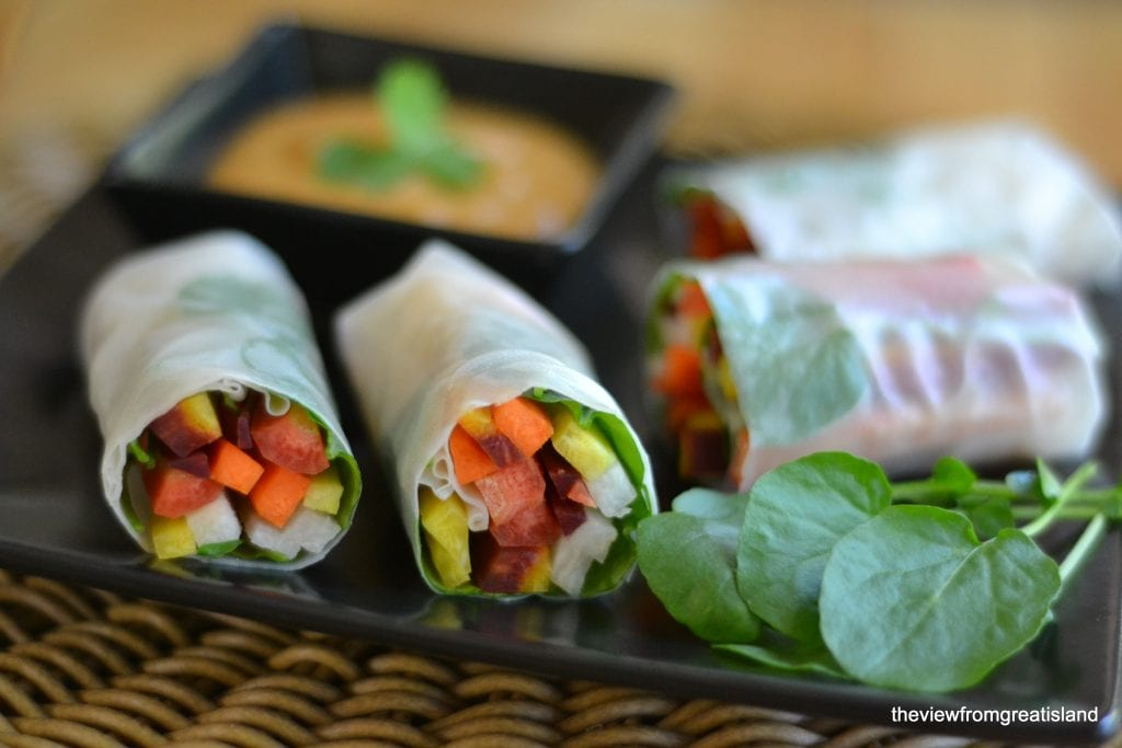Rainbow Carrot Summer Rolls with Spicy Peanut Sauce