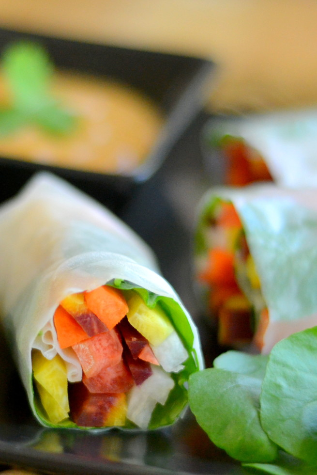 Rainbow Carrot Rolls with Spicy Peanut Sauce