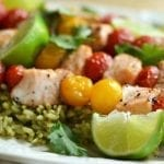 Salmon and Cherry Tomato Skewers over Mexican Green Rice