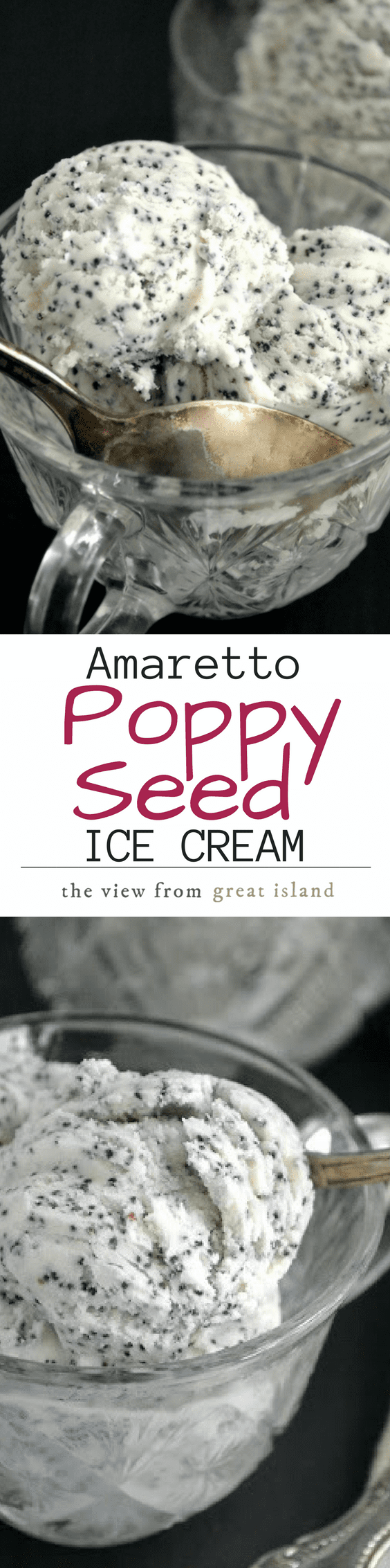 This unusual Amaretto Poppy Seed ice Cream is just delightful, with a complex almond flavor and a bright crunch from the poppy seeds, it's an unexpected treat! |dessert | summer | homemade ice cream | cocktails | Liqueur |