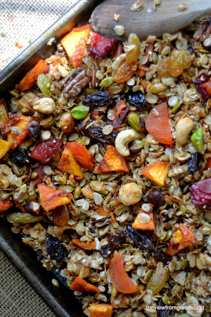 a pan of colorful fruit and nut granola