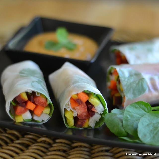 rainbow summer rolls on a plate