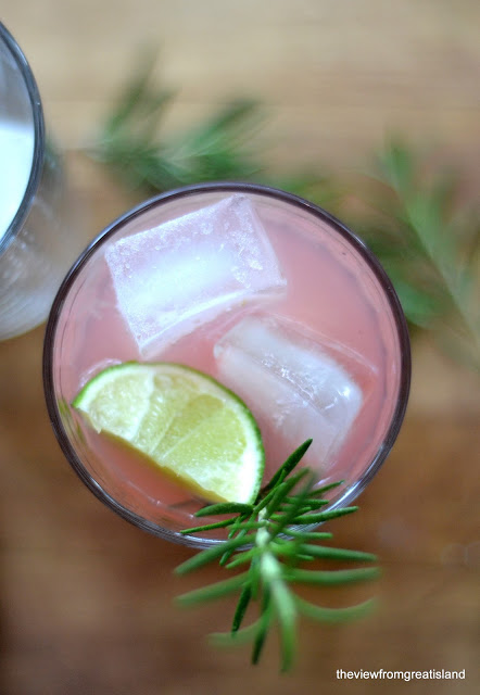 Rhubarb Spring Fling Cocktail with lime and rosemary