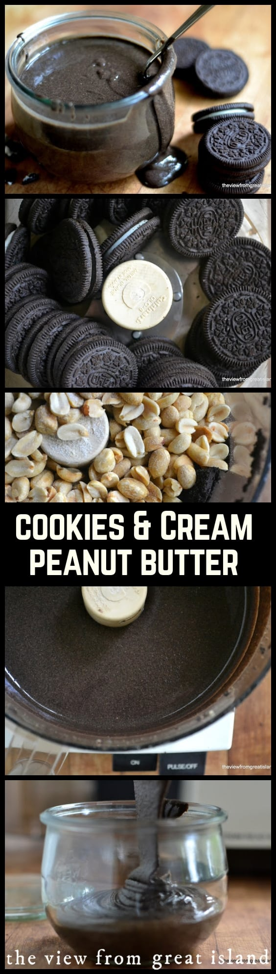 Cookies and Cream Peanut Butter ~ a super quick and easy treat that puts plain old peanut butter to shame ~ slather it on toast, use it as a dip for fruit, or just go at it with a spoon! #recipe #easy #kids #snack #dessert #oreos #cookiesandcream #dip #peanutbutter #cookies
