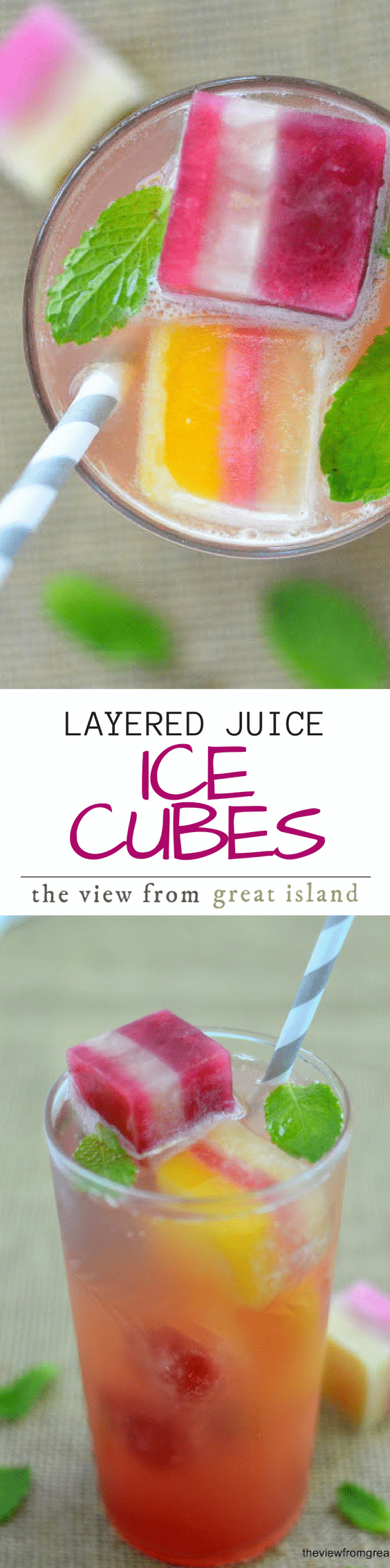 Layered ice cubes are made with pretty stripes of all natural fruit juice for a healthy alternative to sugary sodas. #beverage #juice #kids #drink #stripes #icecubes #healthy #soda #sugarfree #healthysoda #fruitjuice #summer