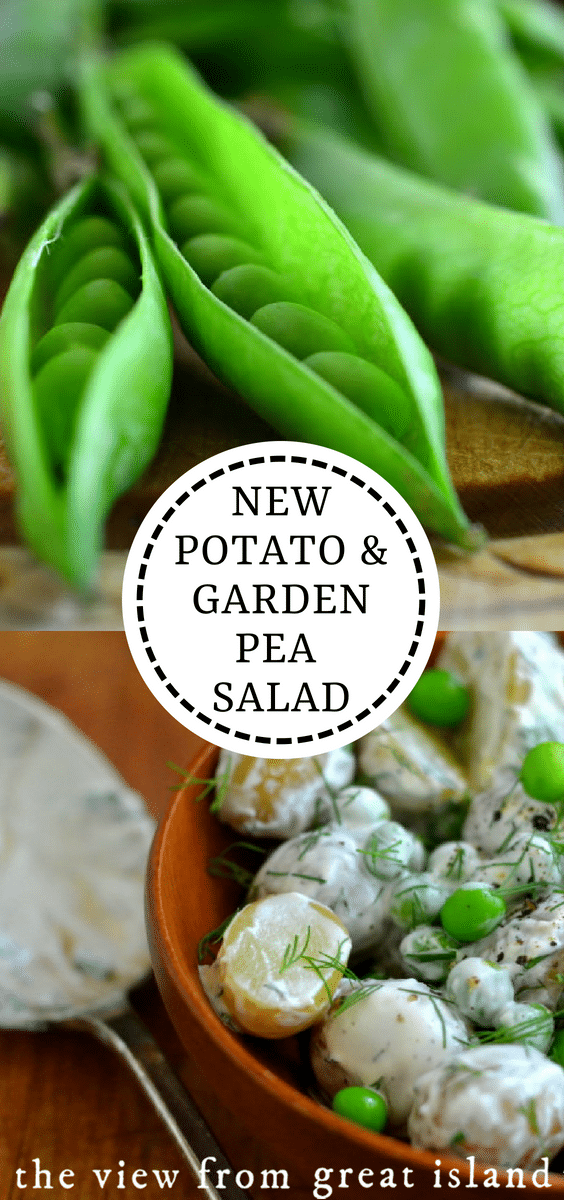 New Potato and Sweet Pea Salad ~This is a spring version of the old standby barbecue/picnic potato salad.  It uses the tiniest new potatoes you can find, and fresh garden peas. #salad #sidedish #potato #peas #recipe #healthy