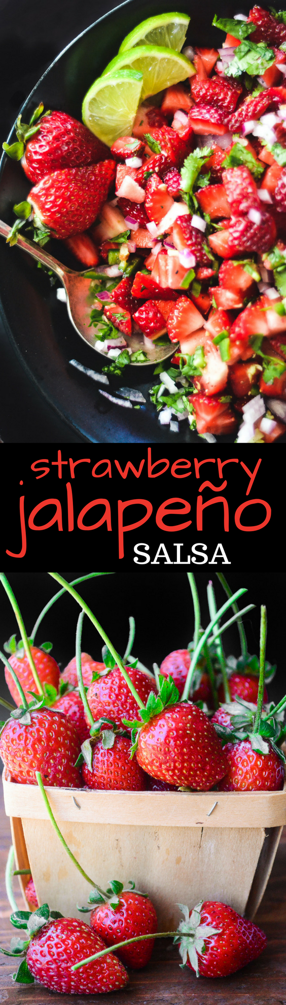 This Strawberry Jalapeno Salsa ~ juicy strawberries tossed with lime, cilantro and finely minced red onion, with the added kick of jalapeño. You can use it on fish, tacos, chicken, meats, or just scoop it up with chips. It's the perfect spring and summer appetizer! #salsa #appetizer #strawberries #homemade #fresh #easy #jalapenos #cincodemayo #barbecue #sidedish #recipe #fruit salsa #berries