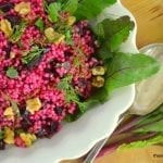 Rose Colored Couscous ~ Israeli Couscous with Beets and Walnuts