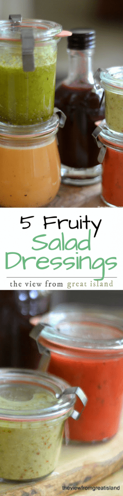 5 Fruity Salad Dressing Recipes ~ a great salad dressing can make even a pile of lettuce exciting, and these dressings are so good you almost want to eat them on their own. Whip them up over the weekend and you'll be enjoying delicious salads all week long.