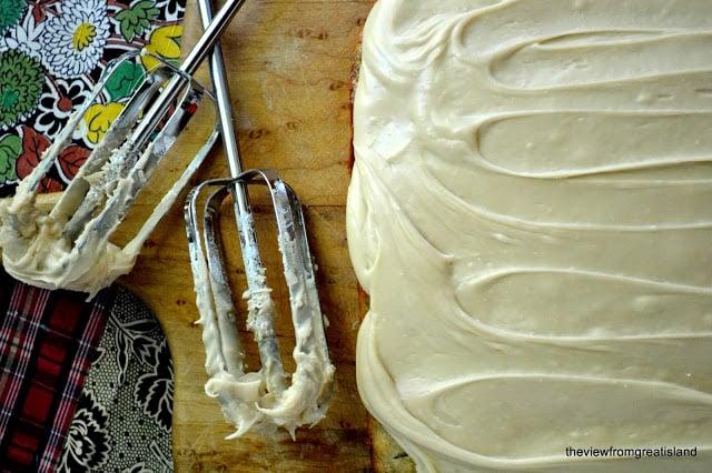 making caramel frosting