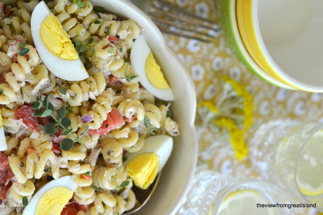 Pasta Salad with tuna and hard cooked eggs