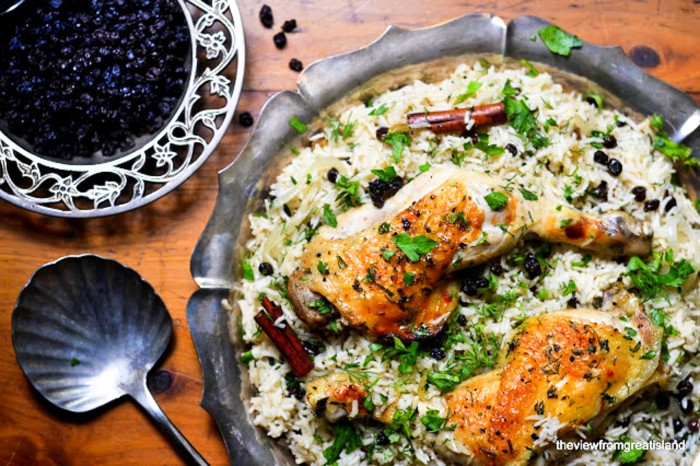 Ottolenghi's Chicken with caramelized Onions and Cardamom Rice
