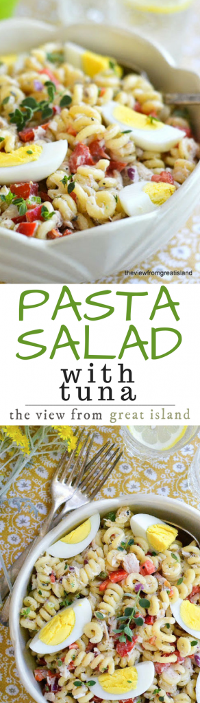 This Pasta Salad with Tuna is the one I grew up with, and it remains my favorite — it sounds simple, but the combination of flavors is addictive, and once you start eating this, you won't be able to stop! summer | Picnic | Barbecue | fish | seafood | potluck |