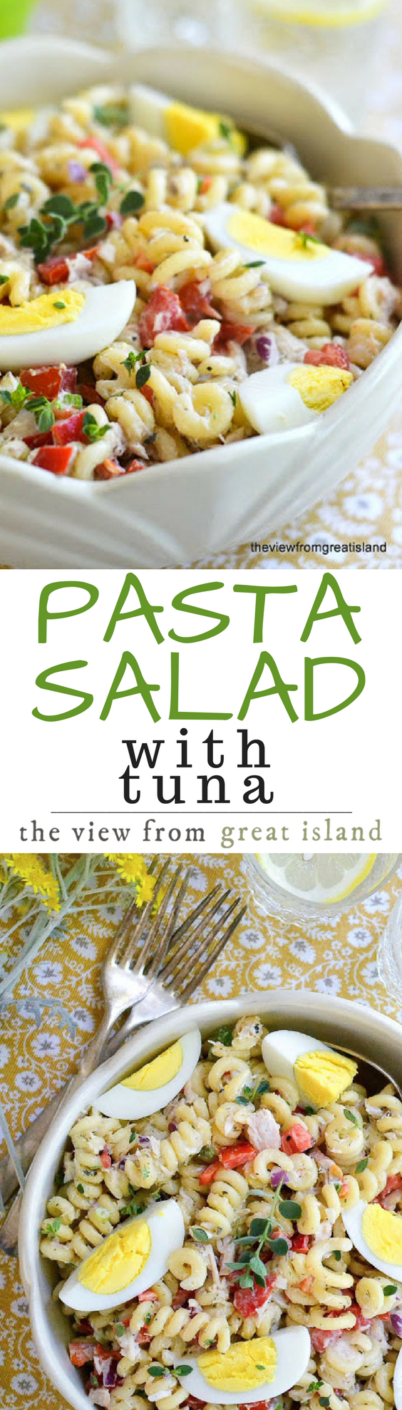 This Pasta Salad with Tuna is the one I grew up with, and it remains my favorite — it sounds simple, but the combination of flavors is addictive, and once you start eating this, you won't be able to stop! summer #tuna #tunasalad #pasta #pastasalad #picnicsalad #macaronisalad #cannedtuna #easypastasalad #fish #meatlessmonday #30minutemeal #sidedish #meatlessmonday #potluck #cannedtuna