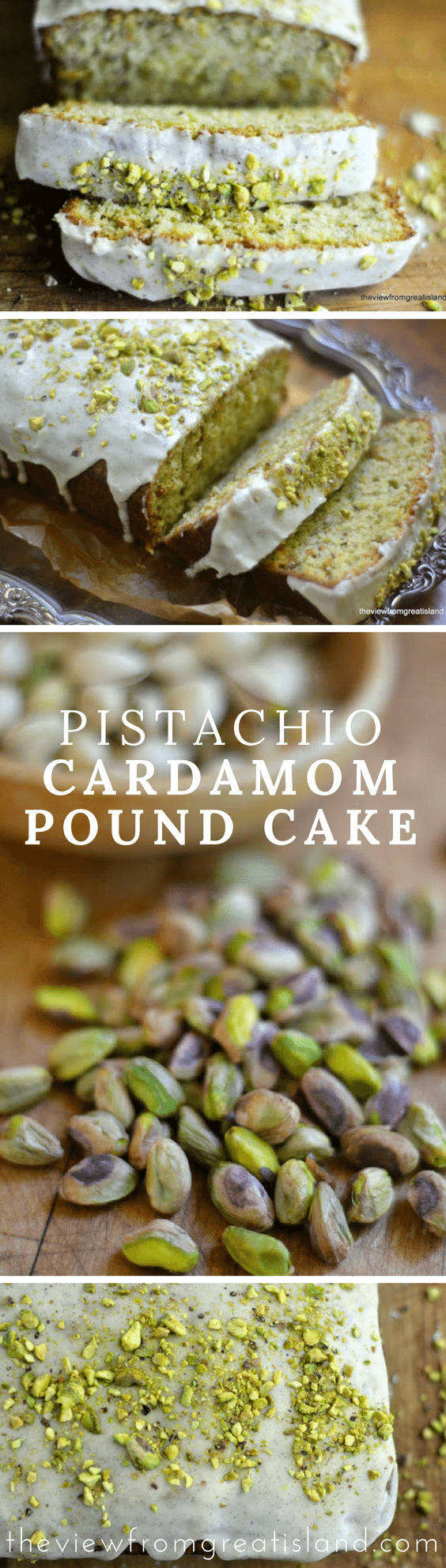 Pistachio Cardamom Pound Cake features a classic Middle Eastern flavor pairing of warm cardamom spice and crunchy pistachios --- it's an unusual and delicious cake perfect with coffee or tea. #cake #poundcake #cardamom #pistachio #cardamomcake #pistachiocake #dessert #coffeecake #breakfast #brunch