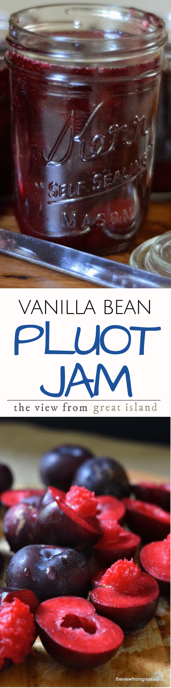 Vanilla Bean Pluot Jam Recipe ~ this easy small batch refrigerator jam is made with flavor packed pluots with a hint of vanilla bean for depth ~ it's going to become your new favorite! | preserves | stone fruit | refrigerator jam | recipe