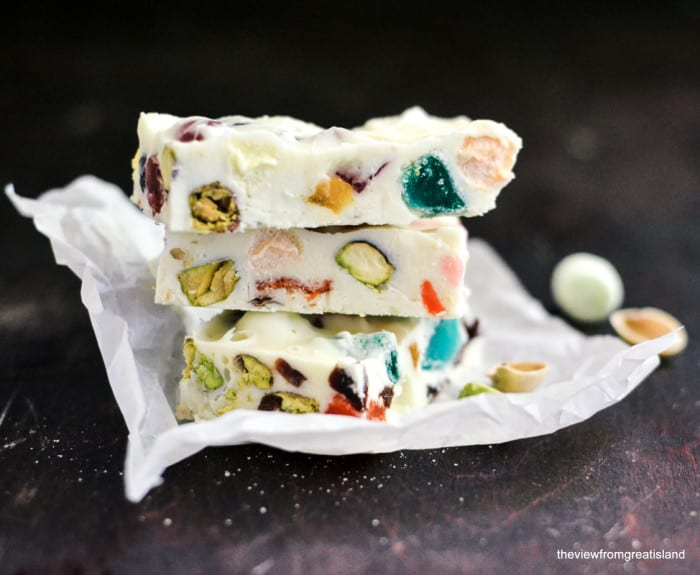 White Chocolate Rocky Road has to be the coolest of candies. It's a fanciful hodge podge of snowy white chocolate, nuts, mini marshmallows and a colorful mix of jellied candies and dried fruit.
