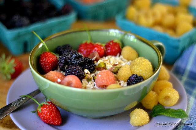 A healthy, make ahead breakfast - top with any seasonal fruit!