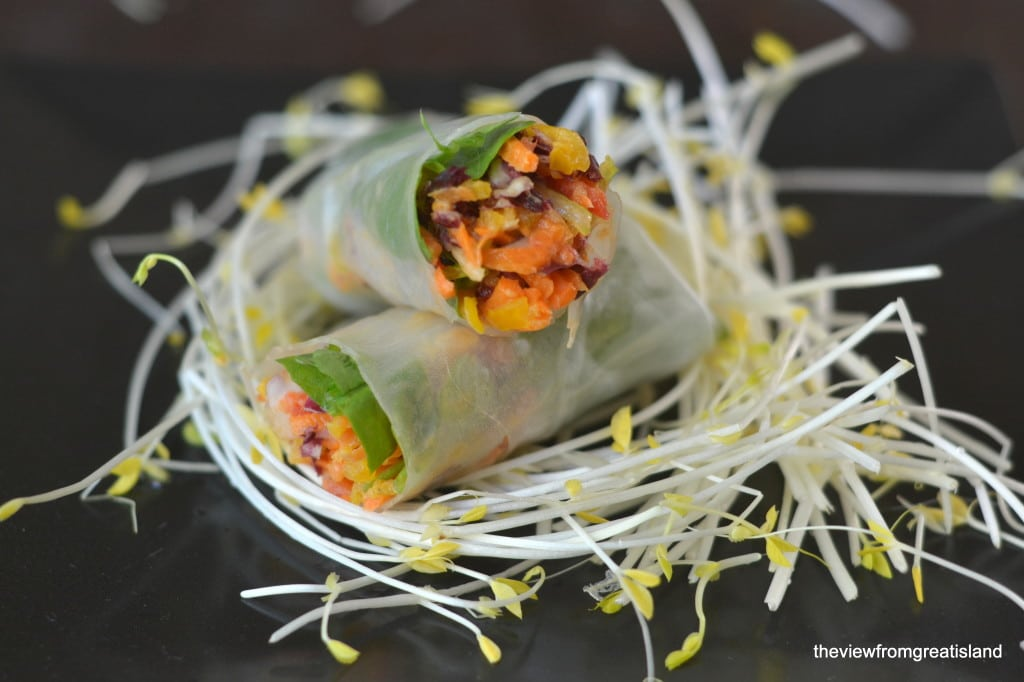 Spicy Asian Slaw Summer Rolls on top of pea shoots on a black plate.