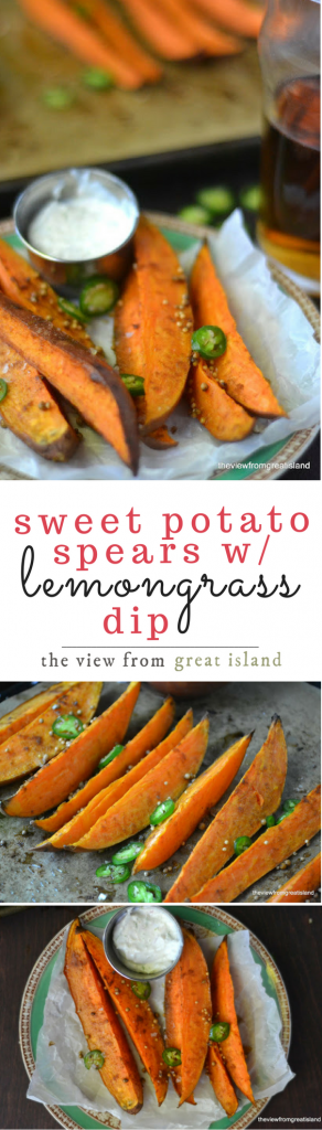 Sweet Potato Spears with Lemongrass Dip is a healthy appetizer or side dish that lets you indulge without the guilt ~ if you love sweet potato fries, you'll love these!