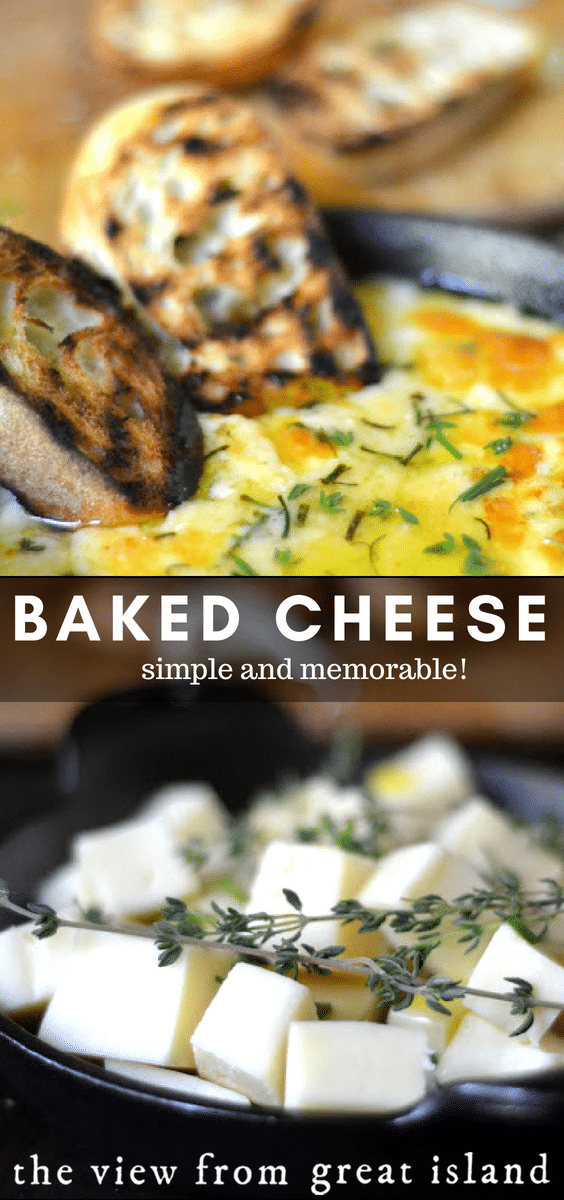 Simple Baked Cheese ~ a memorable appetizer that's as easy as it sounds.  This hot cheesy dip works equally well for game night and date night! #dip #homemade #cheese #recipe #gameday #appetizer #easy #cheesedip