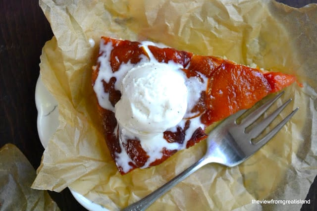 Caramelized Plum Upside Down Cake with ice cream