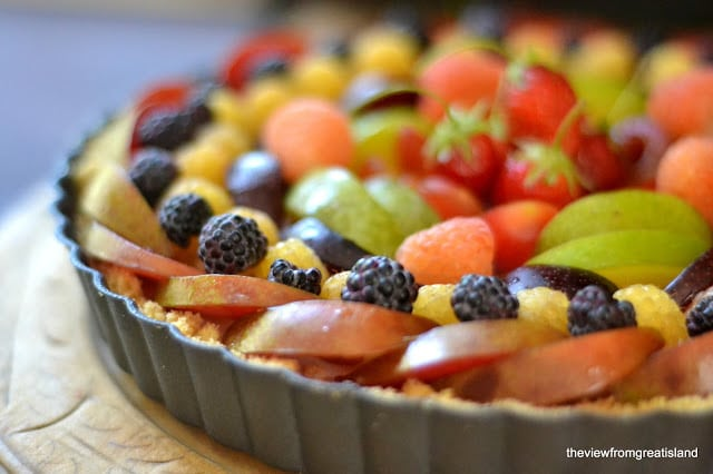 A fruit topped coconut panna cotta tart