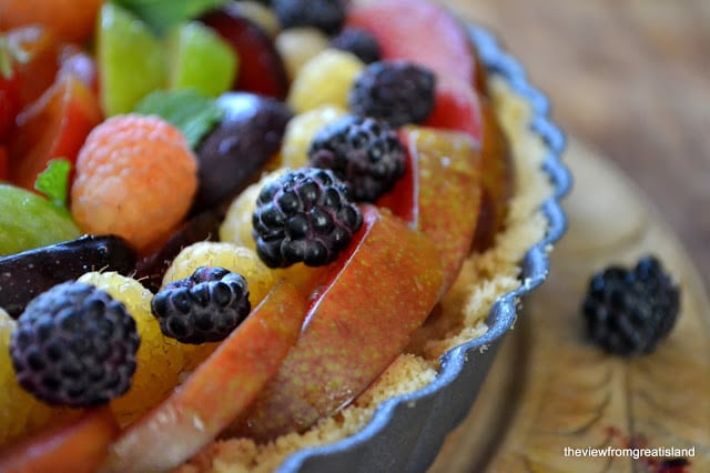 Coconut Panna Cotta Tart with berries and stone fruit