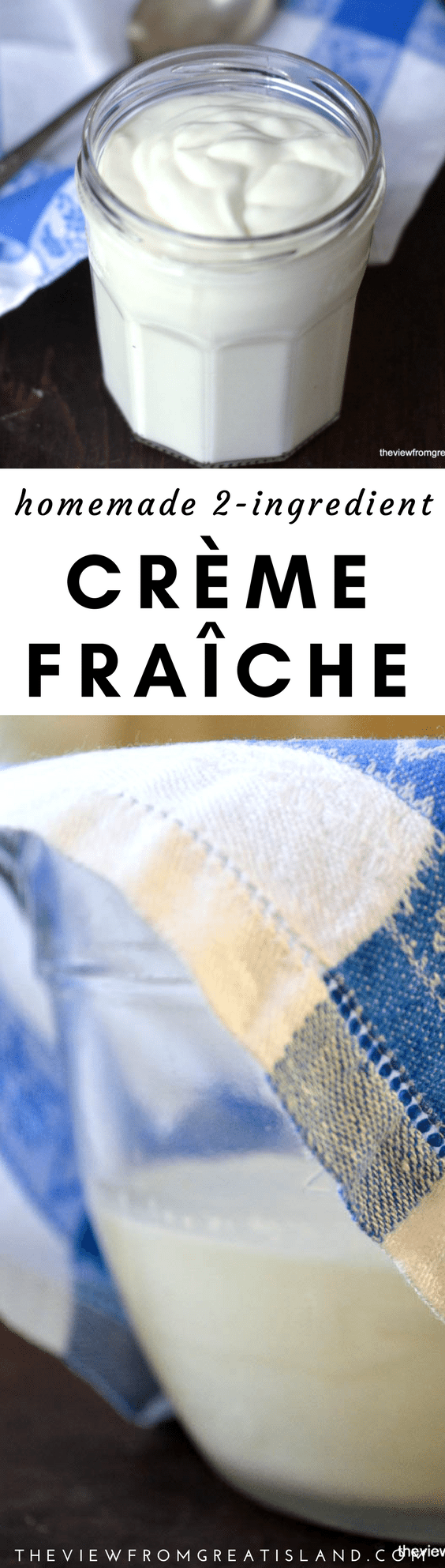 Homemade Crème Fraîche ~ with just 2 ingredients you can make your own thick and creamy crème fraîche ~ no more last minute trips to the supermarket to buy one of those overpriced little tubs! #diy #cremefraiche #homemade #cremefraicherecipe #sourcream