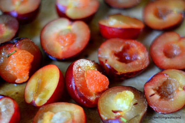 Cut plums forCaramelized Plum Upside Down Cake