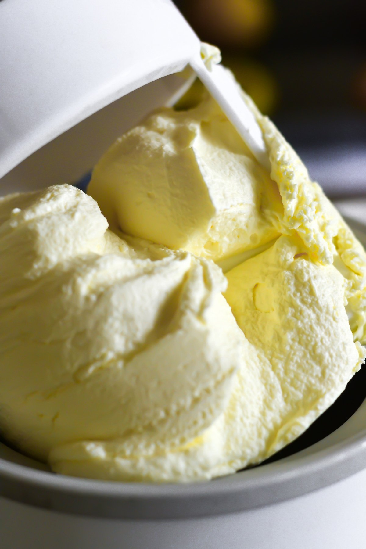 fresh lemon ice cream coming out of the machine