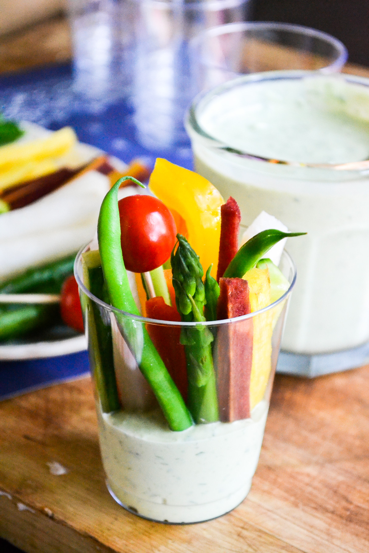 fresh veggies and dip in a portable cup
