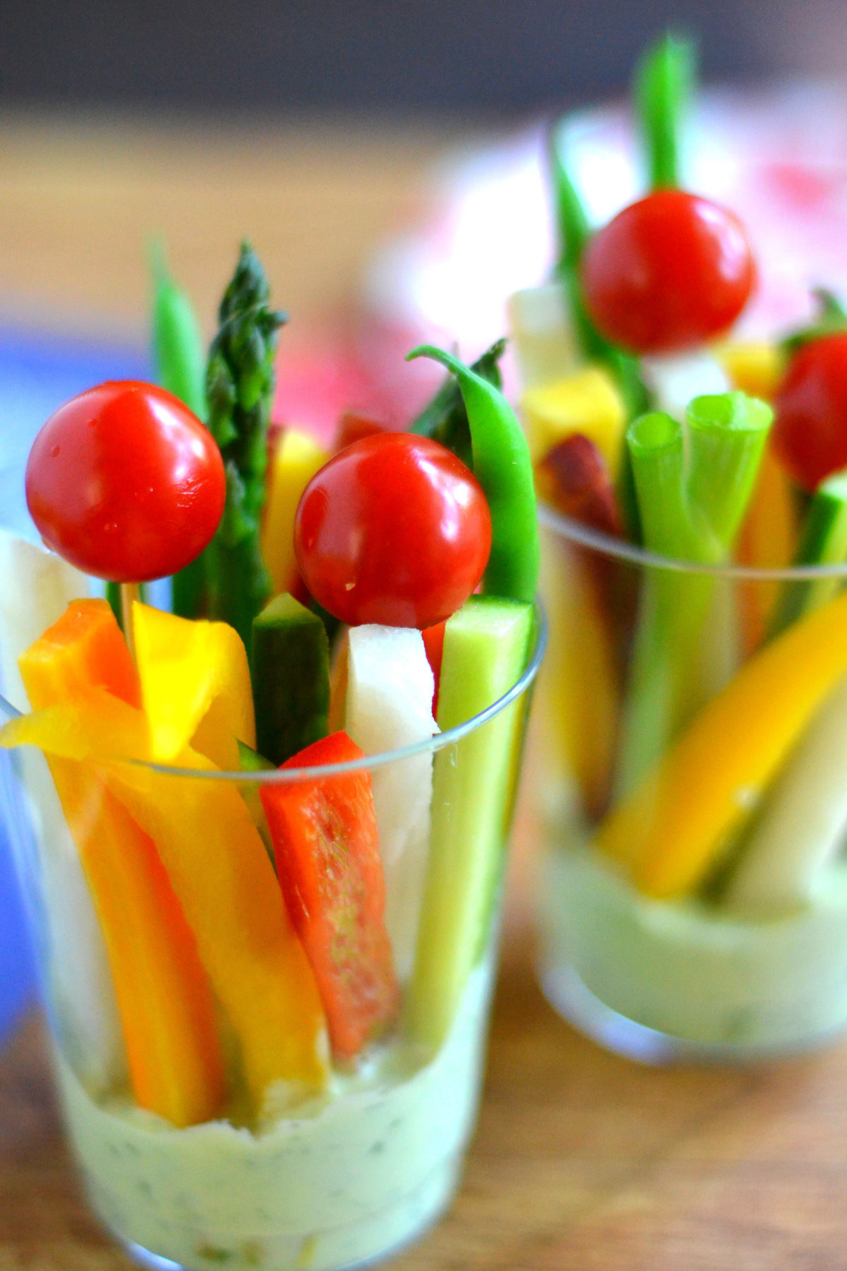 fresh cup veggies and dip in plastic cups