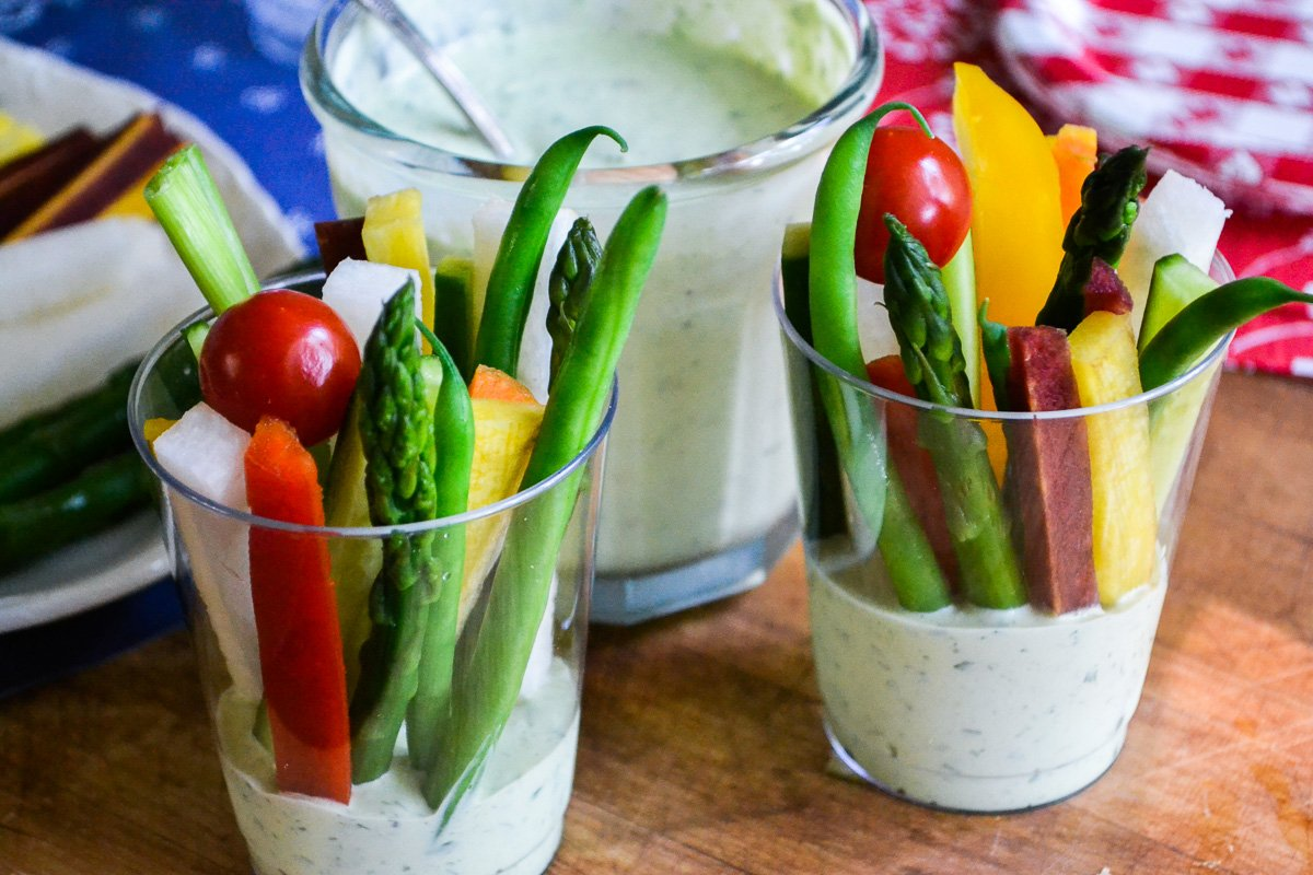 Fresh colorful veggie dip cups