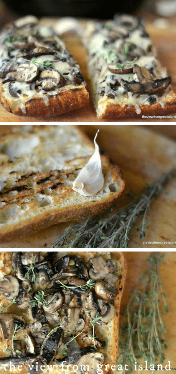 Mushroom & Gruyere Bruschetta is the kind of quick and easy appetizer you can throw together on the spur of the moment. #appetizer #recipe #crostini #tapas #bread #toast #cheese #mushroom #easy #bruschetta #Gruyere