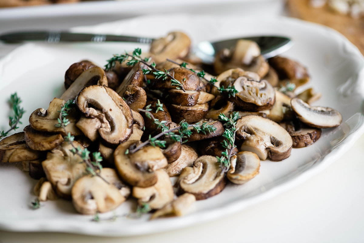 sautéed mushrooms for mushroom and gruyere bruschetta