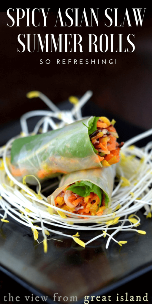 Spicy Asian Slaw Summer Rolls pin
