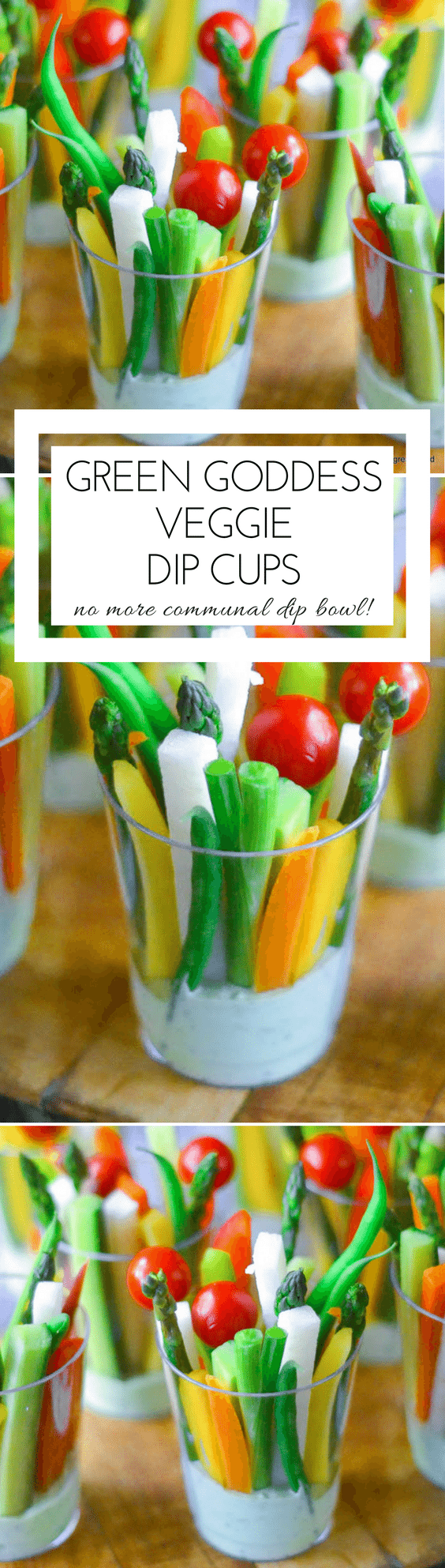 Green Goddess Veggie Dip Cups are super problem solvers --- keep a bunch of these in the fridge and you won't even think about that bag of chips...and let's just say that the dreaded communal dip bowl is now a thing of the past. #appetizers #healthy #crudites #fingerfood #portableappetizer #cuteappetizer #4thofJulyappetizer #summerappetizer #picnic #barbecue #carrotsticks #vegetables