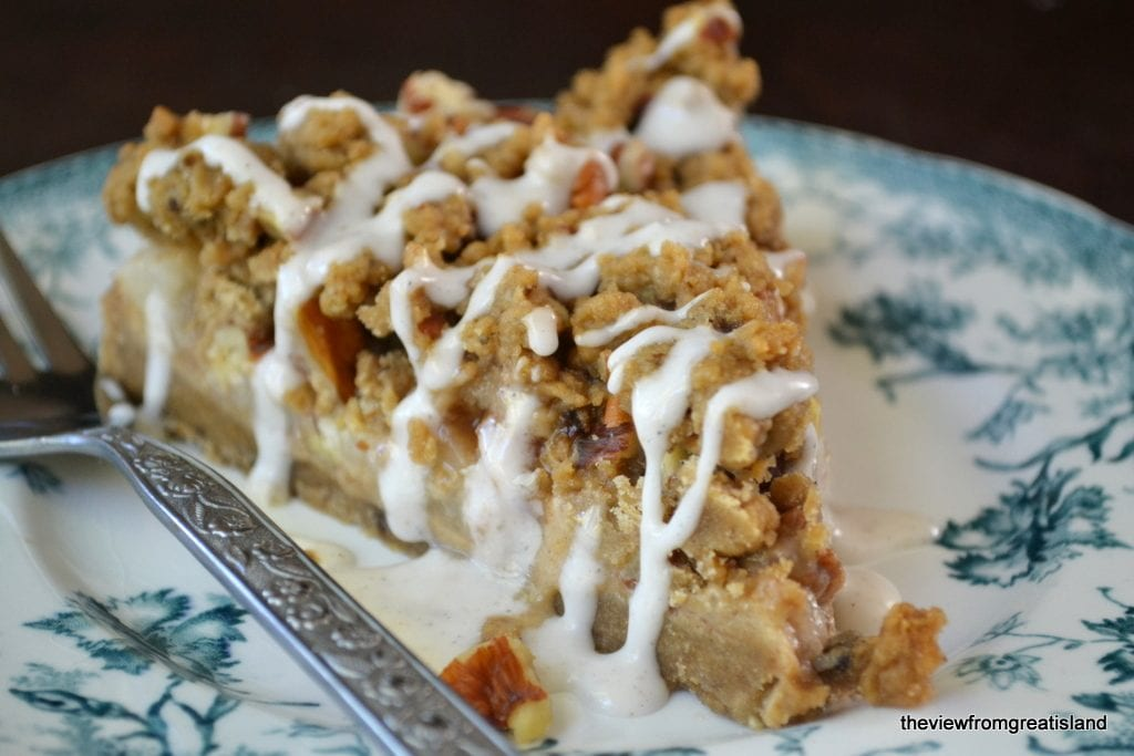 Spiced Pear Gingerbread Crumb Cake