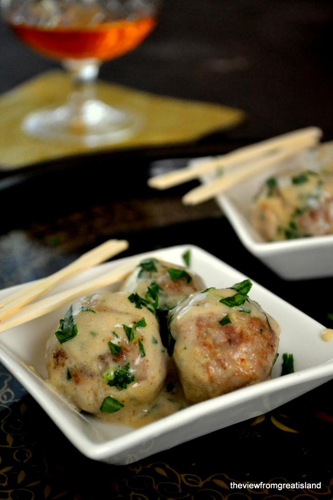 Cocktail Meatballs Stroganov with toothpicks