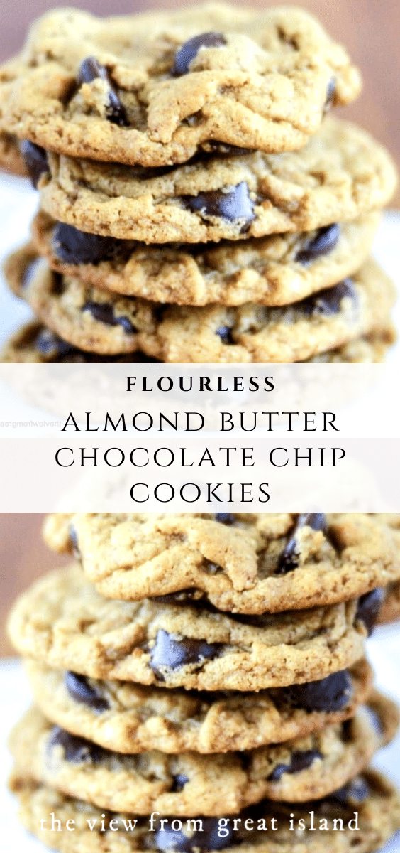 almond butter chocolate chip cookies pin