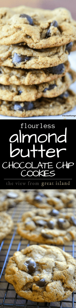 Flourless Almond Butter Chocolate Chip Cookies ~ these gluten free cookies are made without flour or butter, and they beat your favorite chocolate chip cookie by a mile! #glutenfree #glutenfreedessert #kids #afterschool #backtoschool #chocolatechipcookie #healthycookie #flourlesscookie #almondbutter #healthysnack