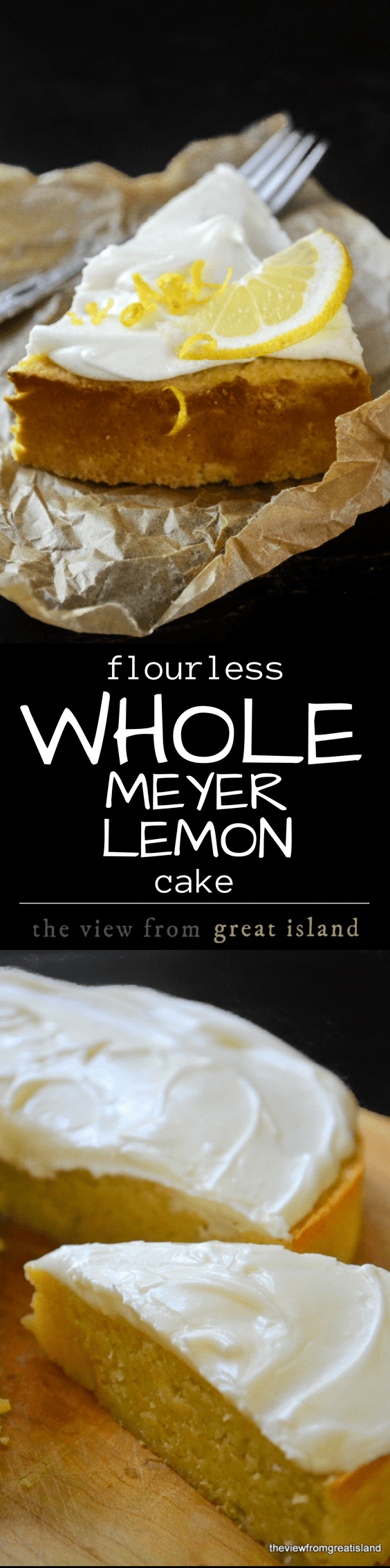 This naturally gluten free Flourless Whole Meyer Lemon cake is made with the entire lemon, peel and all, in the Mediterranean tradition, it has a tender texture and an explosive lemon flavor. | gluten free | lemon cake | flourless cakes | dessert