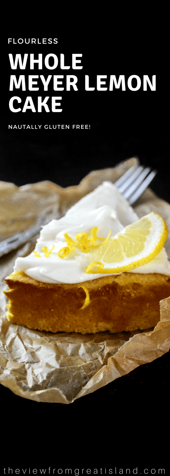 This naturally gluten free Flourless Whole Meyer Lemon cake is made with the entire lemon, peel and all, in the Mediterranean tradition, it has a tender texture and an explosive lemon flavor. #glutenfree #lemoncake #meyerlemon #flourless #flourlesscake #almond #flourlesscakerecipe #citrus #italiancake #italianlemoncake #almondcake #wholefruit