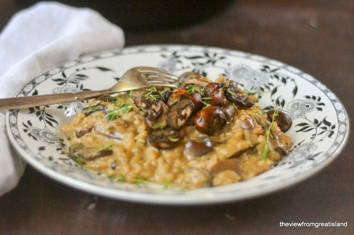 Mushroom Risotto in a bowl with fork